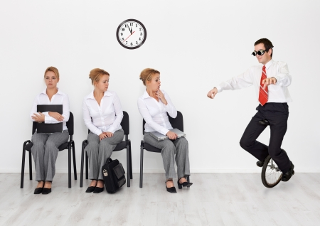 Photo pour Employees with special skills wanted concept - man with monocycle - image libre de droit
