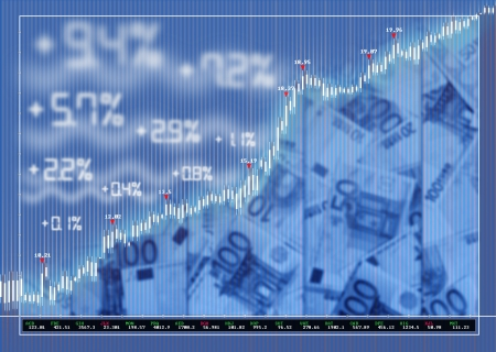 Stock exchange market background with diagram and money