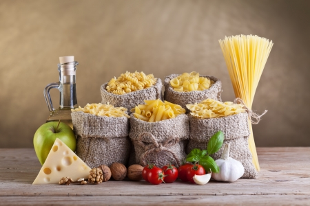 Healthy diet food with pasta and fresh ingredients