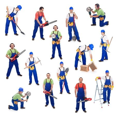 Photo for Workers from the construction industry - with various tools, isolated - Royalty Free Image