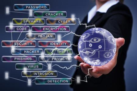 Photo pour Social networking, internet and cyber security concept - image libre de droit
