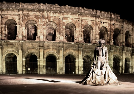Statue of a famous bullfighter in front of the arena in Nimes, France. (panoramic photo made of multiple shots - huge resolution, very suitable for large prints)