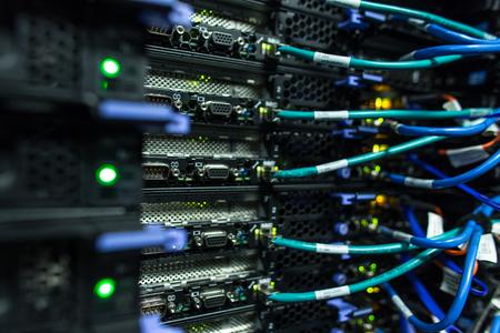 Foto de Server rack cluster in a data center - Imagen libre de derechos