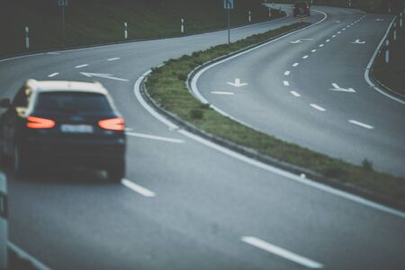 Photo for Cars on a highway at night (shallow DOF; color toned image) - Royalty Free Image