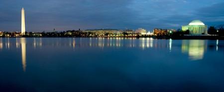Beautiful panoramic view of Washington D.C. at night