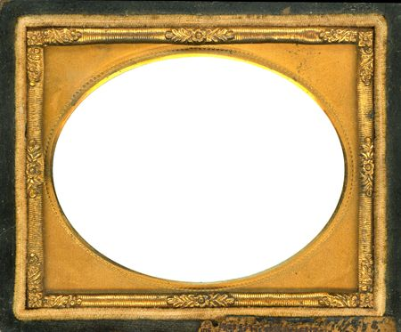 Beautiful ornate gold metal picture frame from the 1840s. This type of picture frame was used with the earliest style photos such as Daguerreotypes, Ambrotypes and Tintypes.  They were in popular use from the 1840's-1860s (Victorian Era).  Image contains