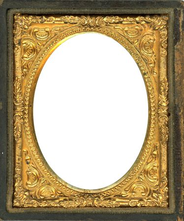 Ornate gold metal picture frame from the 1850s. This type of picture frame was used with the earliest style photos such as Daguerreotypes, Ambrotypes and Tintypes.  They were in popular use from the 1840's-1860s (Victorian Era).  Image contains Clipping P
