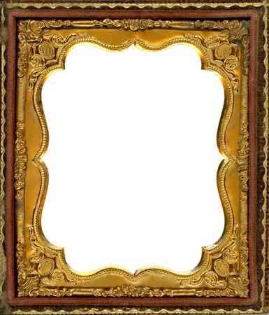 Ornate gold metal picture frame from the 1850s. This type of frame was used to house early style photos such as Daguerreotypes, ambrotypes and tintypes, in popular use from the 1840's-1860s. Image contains Clipping Path for easy insertion of your own imag