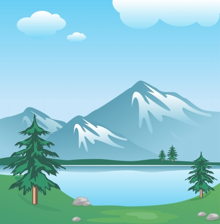 Illustration for Snowy mountain with clouds, lake, trees and grass   - Royalty Free Image