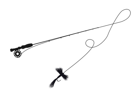 Silhouette illustration of a fishing rod and fly lure