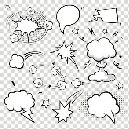 Illustration pour Comic Speech Bubbles. vector illustration. Black and white - image libre de droit