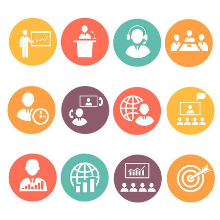 Vektor für Business people meeting online and  offline strategic concepts icons set isolated vector illustration - Lizenzfreies Bild