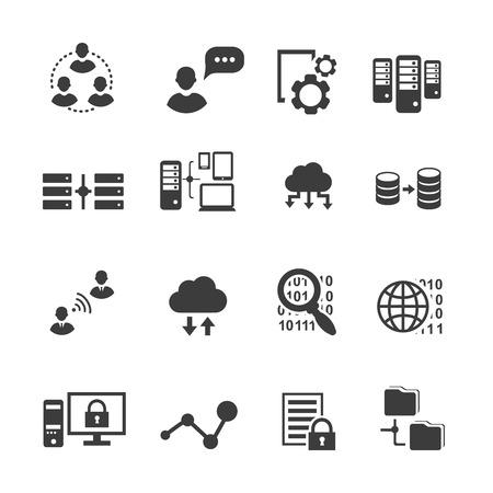 Big data icon set, data analytics, cloud computing. digital  processing vector