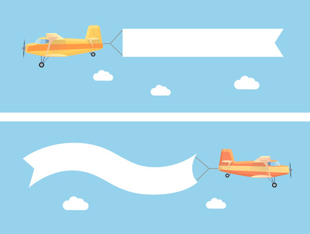 Ilustración de Flying vintage plane with the advertising banner modern flat concept. Template for a text web banners and printable materials - Imagen libre de derechos