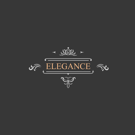Vintage retro label and luxury logo, restaurant, hotel, boutique  Heraldic victorian Design with flourishes elegant elements.  Illustration template.