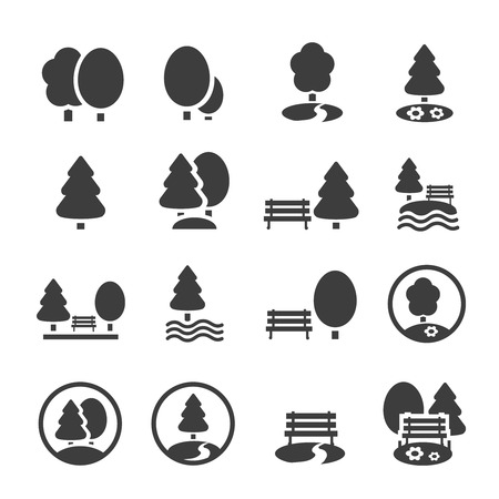 Park Icon Set. Trees, forest and  bench vector iconsのイラスト素材