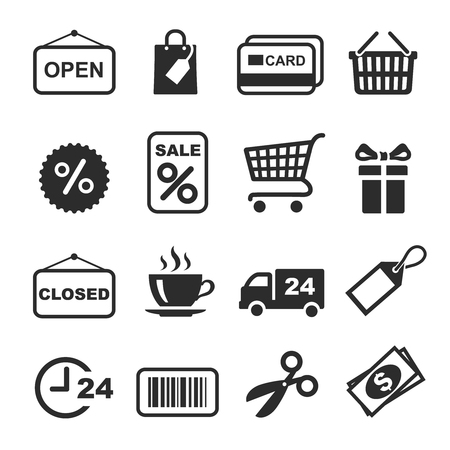 Shopping Icon black and white Set. Vector