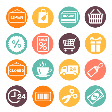 Shopping Icon colored Set.