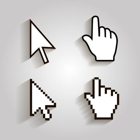 Illustration pour Pixel cursors icons mouse hand arrow . Vector Illstration - image libre de droit