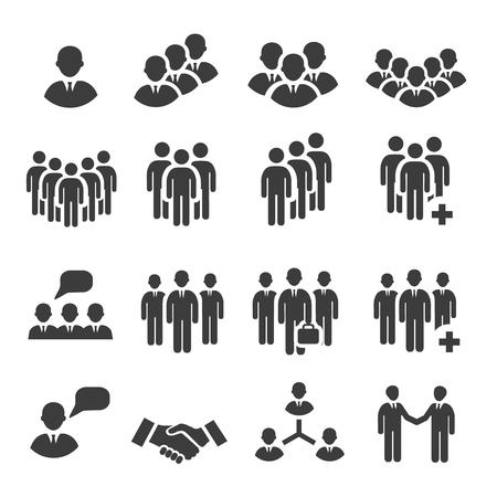 Ilustración de Crowd of people in team icon  silhouettes - Imagen libre de derechos