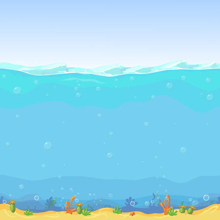 Illustration pour Underwater seamless landscape,  cartoon background for game design. Sea water, nature ocean wave illustration - image libre de droit