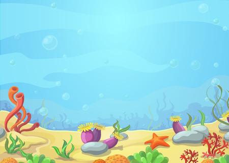 Underwater cartoon world - blue sea landscape, starfish, vector illustration