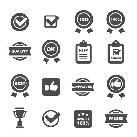 Illustration pour quality control icons black set, mono vector symbols - image libre de droit