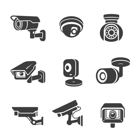 Illustration for Video surveillance security cameras graphic icons pictograms set vector - Royalty Free Image