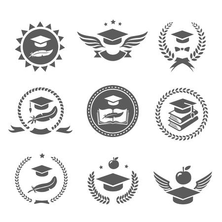 Illustration pour Graduation cap labels set.  College study, diploma and hat design High School and congratulations graduate logo Vector - image libre de droit
