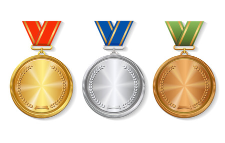 Set of gold, silver and bronze Award medals set on white background