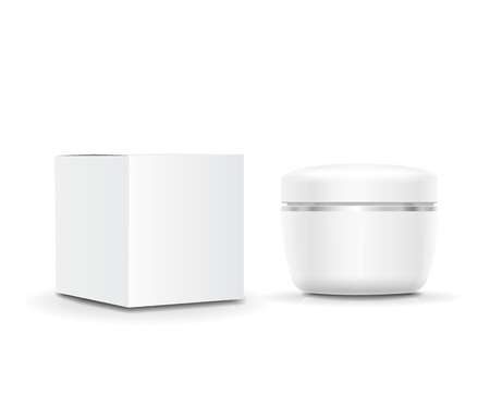 Illustration pour White blank cosmetic Cream cream container and  packaging box - image libre de droit