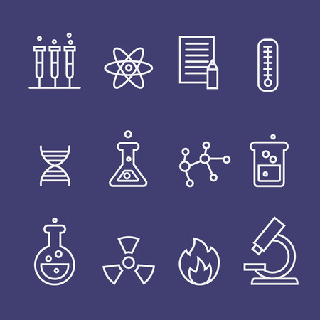 Science  and  chemistry research thin line icons set