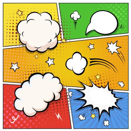 Ilustración de Comic Book Speech Bubbles. A set of colourful and retro comic book design elements Vector illustration. - Imagen libre de derechos