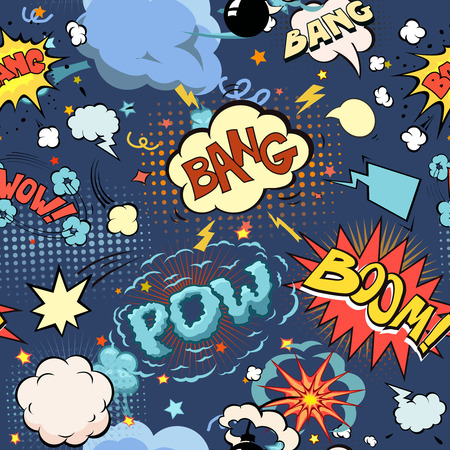 Seamless pattern background with comic book speech bubbles s And Blast illustration