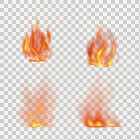 Illustration for Realistic fire flames vector isolated on transparent background - Royalty Free Image