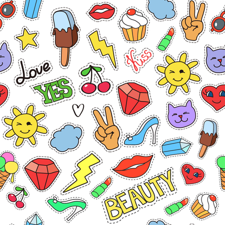 Ilustración de background with stickers, pins, patches. Seamless pattern with fashion patch badges. Lips, hearts, stars in comic cartoon style - Imagen libre de derechos
