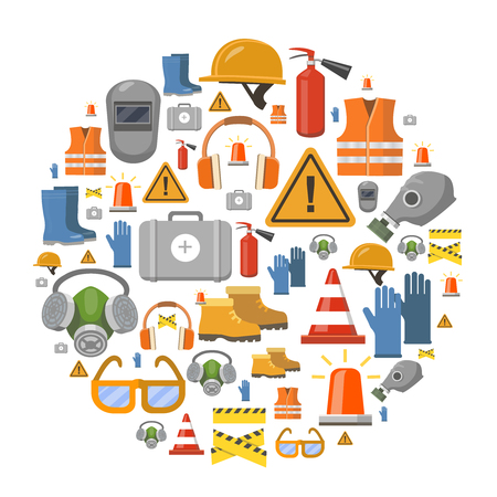 Illustration pour Safety work flat vector icons round background vector illustration with workwear helmet, gloves, extinguisher - image libre de droit
