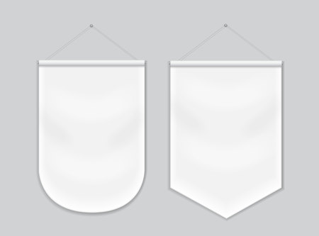 Illustration pour Pennant white blank hanging on the wall, template mockup - image libre de droit