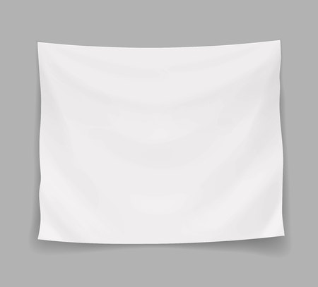 White blank banner or hanging empty flag, vector isolated illustration