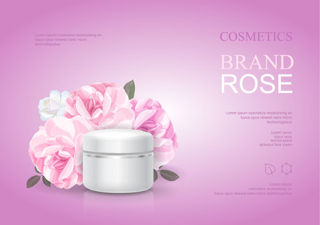 Illustration for Rose moisturizing cream template, skin care ads. Pink beauty cosmetic product poster vector illustration - Royalty Free Image
