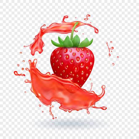 Illustration pour Strawberry fresh juice. Fruit realistic vector icon - image libre de droit