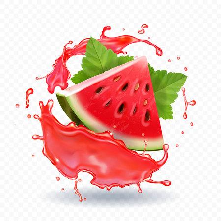 Illustration pour Watermelon juice vector realistic illustration - image libre de droit