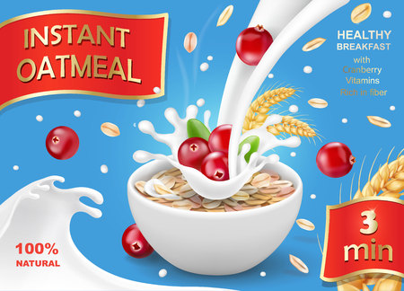 Ilustración de Oat flakes with cranberry, oatmeal advertising - Imagen libre de derechos