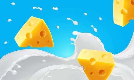 Illustration pour Triangle pieces of cheese in splashing milk r - image libre de droit