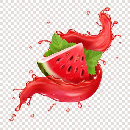 Illustration pour Watermelon in red fresh juice splah realistic illustration - image libre de droit