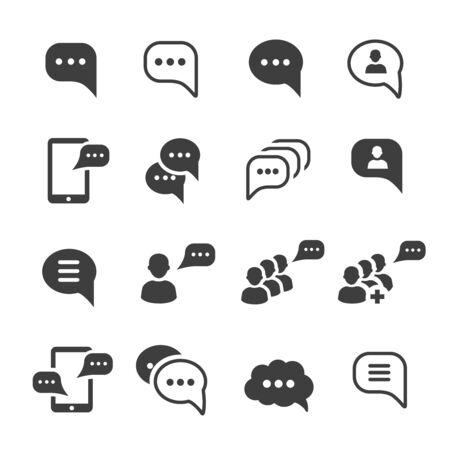 Illustration pour Speech message talk text bubble icons set - image libre de droit