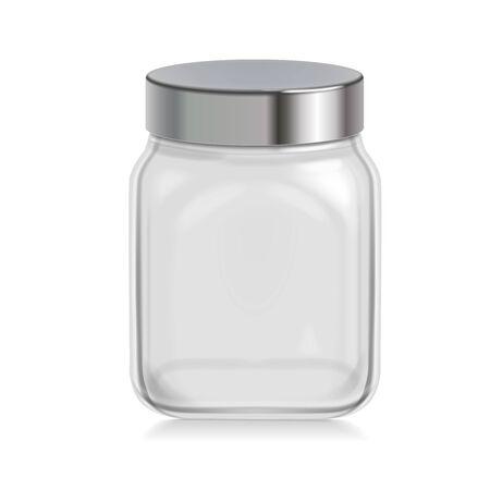 Photo pour Empty transparent glass jar with metal cap  on white - image libre de droit