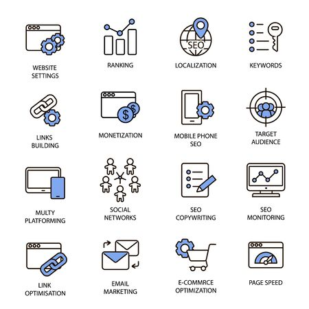 Illustration for Set of thin line search engine optimization icons. Pixel perfect icons for mobile apps and web design. - Royalty Free Image