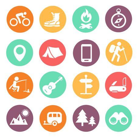 Photo pour Outdoor traveling icons on white - image libre de droit