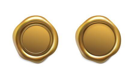 Illustration pour Golden wax seal set on white - image libre de droit